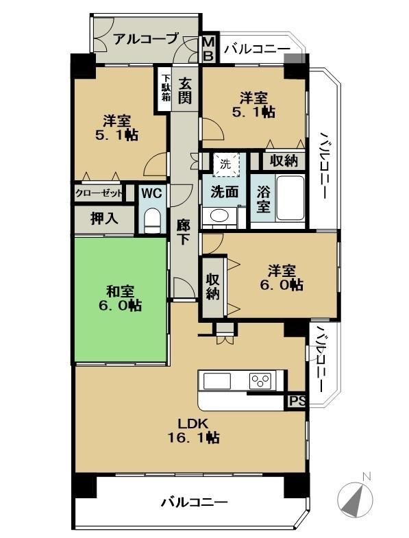 三面バルコニーで明るいお部屋。最上階角部屋です。