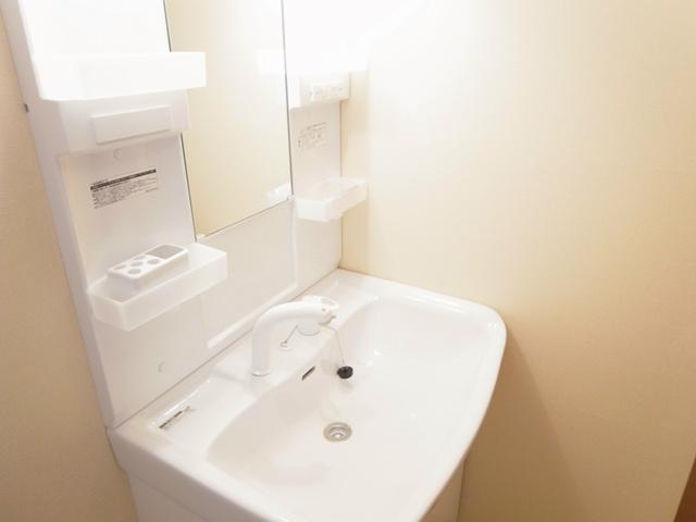 シャンプードレッサー付きの独立洗面台。