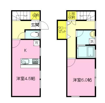 収納スペース3か所あり。2階に洗面・浴室があります。