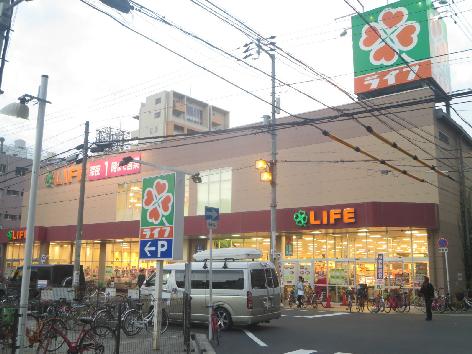スーパー:ライフ大国町店 593m