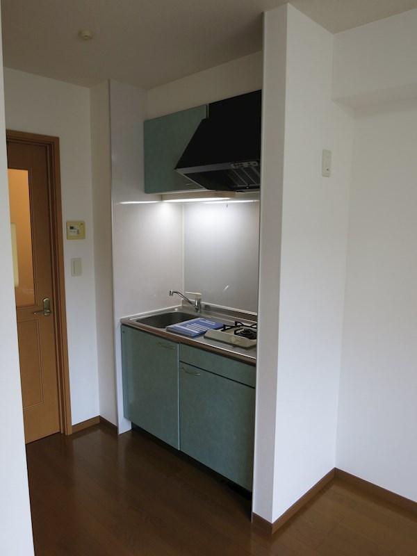 システムキッチンはガスコンロ1口タイプです