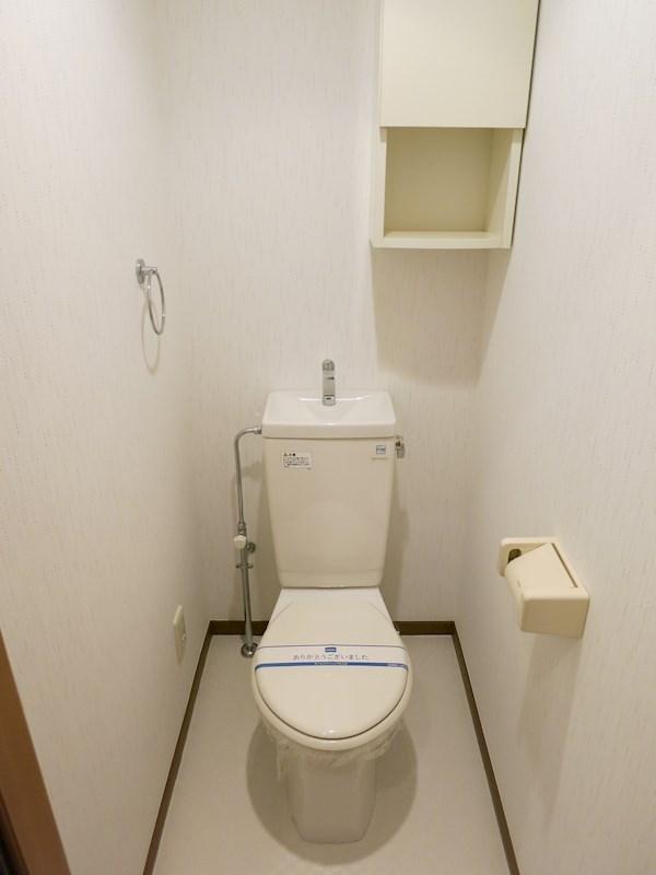 トイレには収納、タオル掛け、紙巻器が設置済みです
