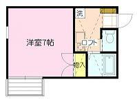 日当たり良好な洋室に、奥行きがあり広めなロフトが特徴のお部屋です。天窓よりロフト内も明るいですよ。