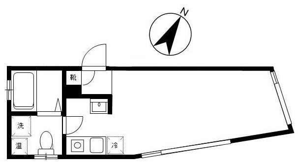 こちらの物件の間取りは、お部屋とキッチンが繋がった1Rのタイプです。ドアが無いので広々とした印象です