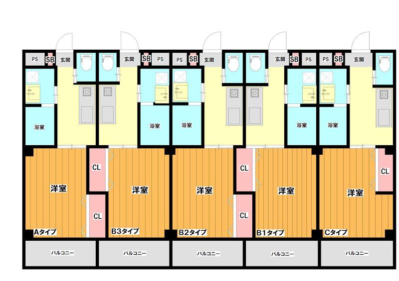 左から順に01~05号室です。