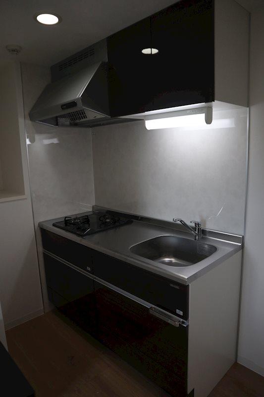 2口ガスコンロ付システムキッチン。