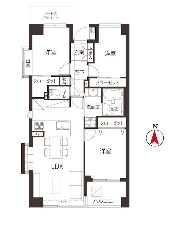 専有面積:64.88m²・3LDK