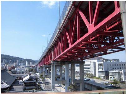 インターチェンジ:若戸大橋 若戸大橋口出入口 下り 出口 308m